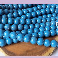 Perla de vidrio azul cobalto 6 mm tira de 72 piedras aprox
