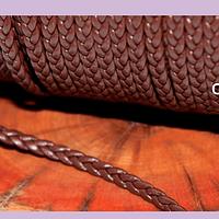 Imitación cuero trenzado buena calidad, color cafe 4 mm de ancho, por metro