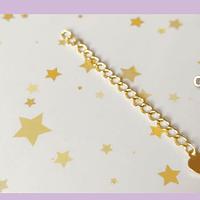 Cadena de alargue, baño de oro, con corazón, 6 cm de largo, por unidad