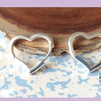 Aros baño de plata en forma de corazón, 20 x 18 mm, por par