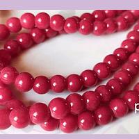 Perla de vidrio pintado 8 mm color rojo cherry tira de 54 unidades
