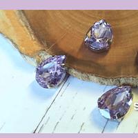 Cristal soutache lila con aplicación metálica plateada, 14 x 10 mm, set de 4 unidades