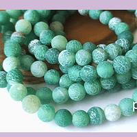 Agatas, Agata frosting 6 mm, en tonos verdes, tira de 65 piedras aprox
