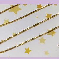 Collar baño de oro, tipo cuadrada mini, 1 mm, de grosor, 50 cm de largo con cierre.