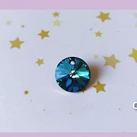 Cristal riboli austriaco color azul, 12 mm de diámetro, por unidad