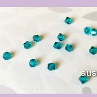 Cristal Austriaco tupi de 4 mm, color calipso, set de 10 unidades
