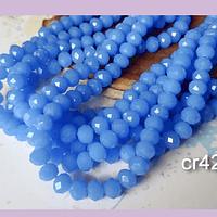 Cristal facetado en color celeste 6 mm, tira de 94 cristales aprox