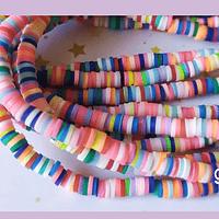 Tira de cuentas de goma, en tono multicolor, 3 mm de diámetro, tira de 40 cm de largo aprox