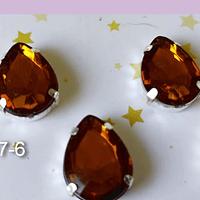 Cristal soutache café con aplicación metálica plateada, 18 x 13 mm, set de 4 unidades