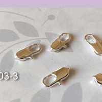 Mosquetón cuadrado plateado, 14 x 6 mm, set de 5 unidades