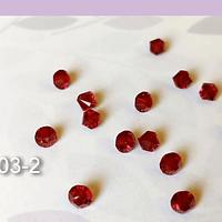 Cristal Austriaco tupi de 4 mm, color rojo set de 10 unidades