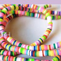 Tira de cuentas de goma, multicolor, 4 mm de diámetro, tira de 42 cm de largo aprox