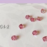 Cristal Austriaco tupi de 4 mm, color rosado tornasol set de 10 unidades