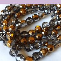 Perla de vidrio y cobre color gris, de 8 mm, tira de 40 perlas aprox