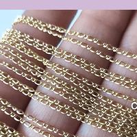 Cadena baño de oro, 2 mm de ancho, 50 cm de largo, por unidad