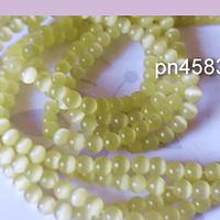 Ojo de gato liso color amarillo claro de 4 mm, tira de 95 piedras