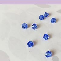 Cristal Austriaco tupi de 4 mm, color azul set de 10 unidades