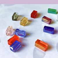 Cristal rectangular multicolor, 4 x 8 mm, set de 24 unidades