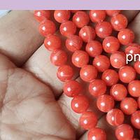 Madre Perla naranja 6 mm, tira de 60 piedras aprox