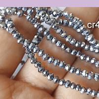 Cristal facetado color plateado de 3 mm x 2 mm, tira de 148 cristales aprox.