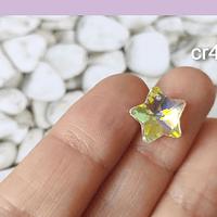 Cristal excelente calidad, austriaco, estrella, color transparente tornasol,con orificio superior 13 mm, por unidad