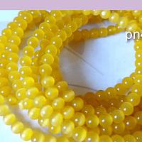 Ojo de gato liso color amarillo de 4 mm, tira de 95 piedra