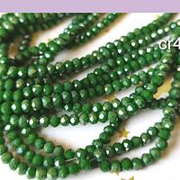 Cristal facetado verde de 3 mm x 2 mm, tira de 135 cristales aprox.