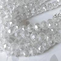 Cristal facetado en color blanco tornasol 6 mm, tira de 94 cristales aprox