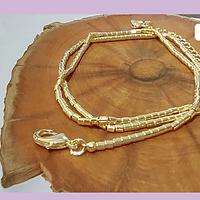 Collar con separadores baño de oro, 55 cm de largo, para usar como collar o pulsera.