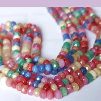 Agatas, Agata RONDELL multicolor de 4 mm, tira de 120 piedras aprox