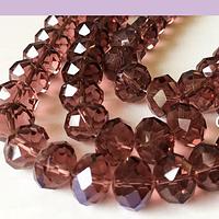 Cristal facetado de 16 mm en color ciruela, set de 10 cristales