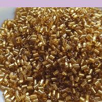 Mini canutillo dorado cristal 6 x 1,5 mm, set de 25 grs.