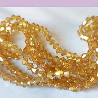 Cristal tupi 4 mm, color amarillo tornasol tira de 75 cristales aprox.