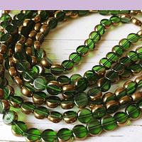 Perla de vidrio y cobre color verde, 8 mm de diámetro, tira de 42 perlas aprox.