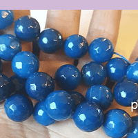 Agatas, Agata en tonos azules, 14 mm de diámetro tira de 13 piedras aprox