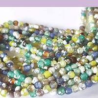 agata multicolor en 4 mm, tira de 90 piedras aprox