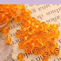 Mostacilla Calibrada 8/0 color naranja cristal, 20 grs.