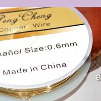 alambre de cobre color dorado 0.6 rollo de 4.3 metros