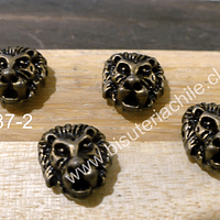 Separador envejecido en forma de león, 11 x 12 mm, set de 4 unidades