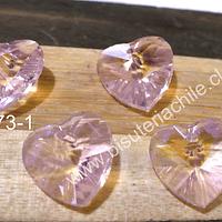 Cristal en forma de corazón rosado, 14 x 15 mm, set de 4 unidades