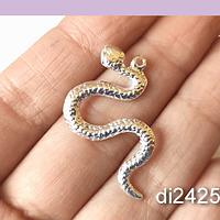 Colgante moda, serpiente baño de plata, 37 x 21 mm, por unidad