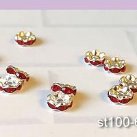Strass plateado con cristales rojos, 8 mm, set de 10 unidades