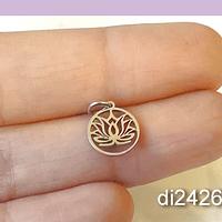Dije acero flor de loto, 12 x 9 mm, por unidad