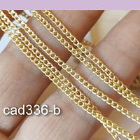 Collar baño de oro, eslabón de 2x 2 mm, 44 cm de largo, por unidad