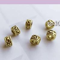 Separador dorado, 8 x 5 mm, agujero de 4 mm, set de 5 unidades