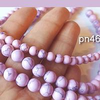 Exclusiva Piedra Howlita de 8 mm en color rosado , tira de de 46 piedras aprox.