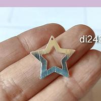 Dije estrella baño de plata, 22 mm, por unidad