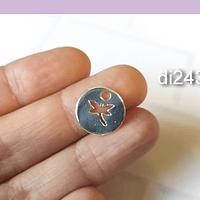 Dije libélula baño de plata, 16 mm, por unidad