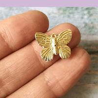 Dije baño de oro en forma de mariposa, 18 x 15 mm, set de 12 unidades