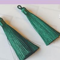 Borla gruesa 1 era calidad, de hilo de seda color verde, 7 cm de largo, set de 2 unidades